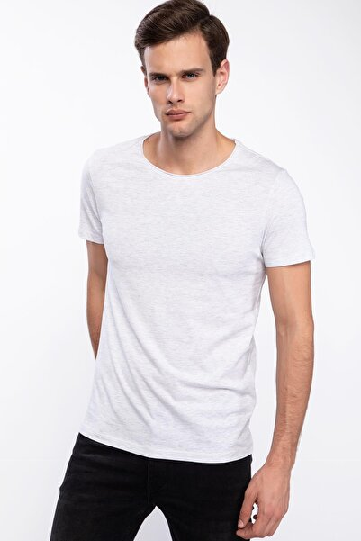Erkek Gri Slim Fit Basic T-shirt J9142AZ.19SP.GR363