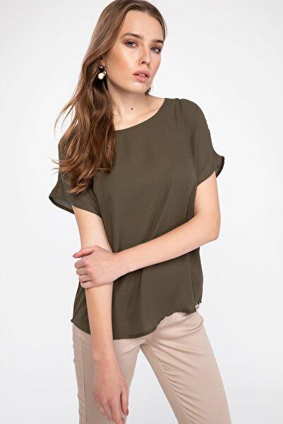 Kadın Yeşil Krep Bluz G6035AZ.19SP.GN575