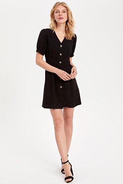 DeFacto Kadın Siyah V Yakalı Düğmeli Elbise L0890AZ.19SM.BK46