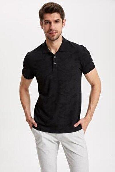 Erkek Siyah Desenli Slim Fit Polo T-shirt K3937AZ.19SM.BK27