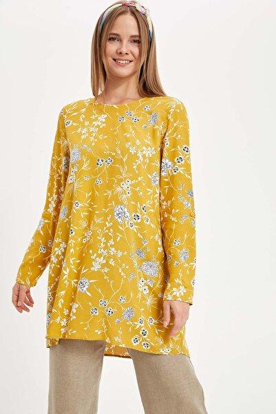 Kadın Modest Sarı Çiçekli Uzun Kollu Tunik L7263AZ.19HS.YL1