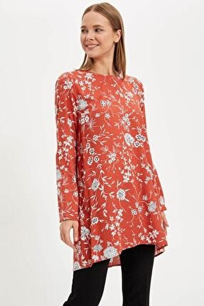 Kadın Modest Kırmızı Çiçekli Uzun Kollu Tunik L7263AZ.19HS.RD13