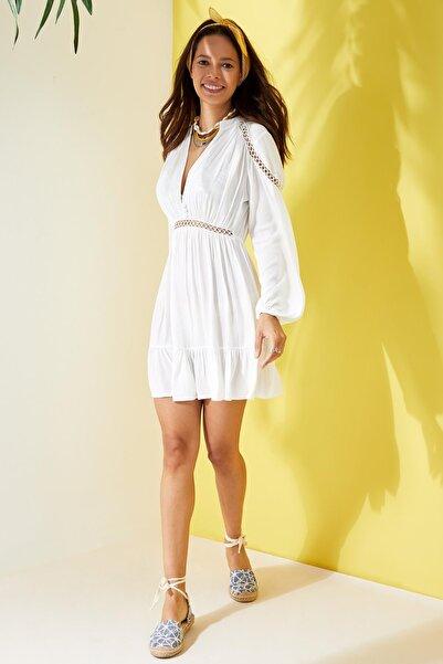 Kadın Beyaz V Yaka Plaj Elbisesi L8753AZ.19HS.WT20