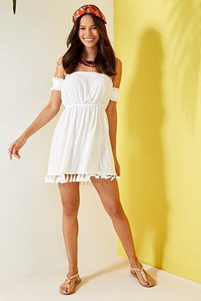 Kadın Beyaz Omuz Dekolteli Plaj Elbisesi L8754AZ.19HS.WT20