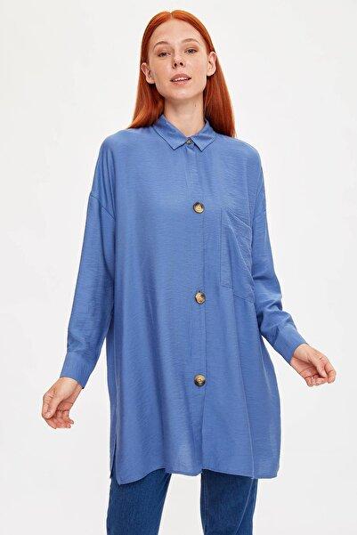 Kadın Modest Mavi Relax Fit Tunik L5157AZ.19HS.BE40