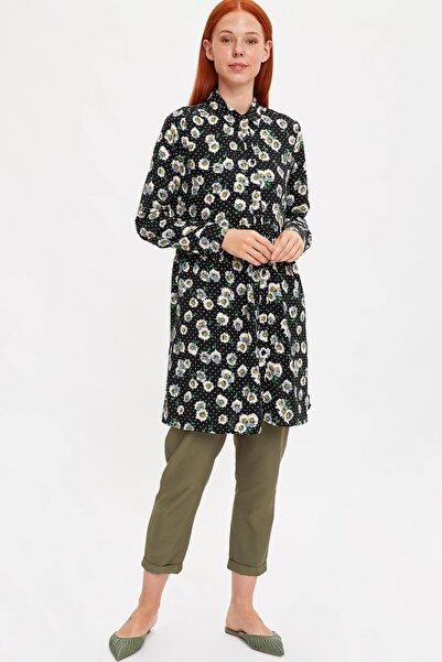 Kadın Modest Siyah Çiçek Desenli Tunik L5321AZ.19HS.BK21