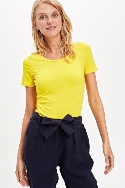 DeFacto Kadın Sarı Basic T-shirt J9840AZ.19SP.YL65
