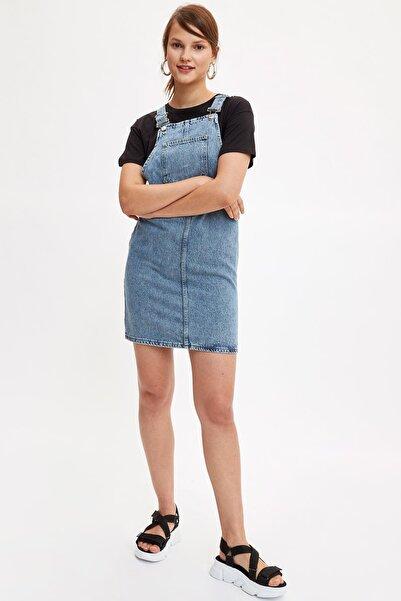 DeFacto Kadın Mavi Kot Askılı Jean Elbise L5355AZ.19SM.BE213