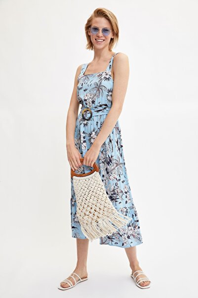 Kadın Mavi Desenli Kemer Detayli Elbise L7523AZ.19HS.BE37