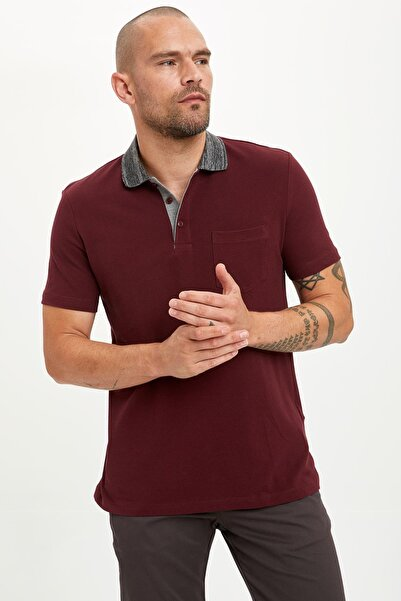 Erkek Bordo Slim Fit Polo T-Shirt M4037AZ.19HS.BR34