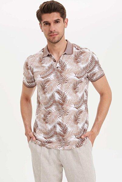 Erkek Kahverengi Çiçek Desenli Polo T-shirt K3970AZ.19HS.BN413