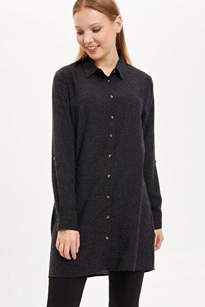 DeFacto Kadın Modest Siyah Yüksek Manşetli Tunik Gömlek J2856AZ.19AU.BK27