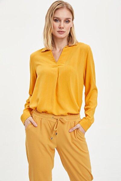 Kadın Sarı Tensel Uzun Kollu Bluz I4545AZ.20SP.YL26