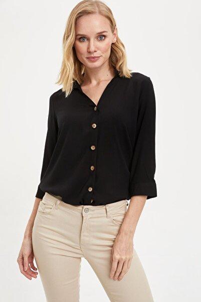 Kadın Siyah Uzun Kollu V Yakalı Gömlek K4655AZ.20SP.BK27