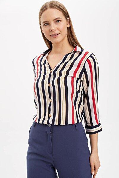 Kadın Beyaz Çizgili V Yakalı Gömlek K6402AZ.20SP.WT34