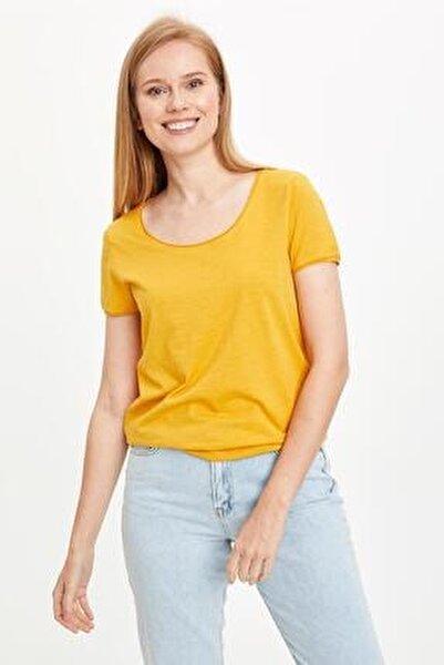 Kadın Sarı Basic Bisiklet Yaka Relax Fit Tişört K1508AZ20SPYL