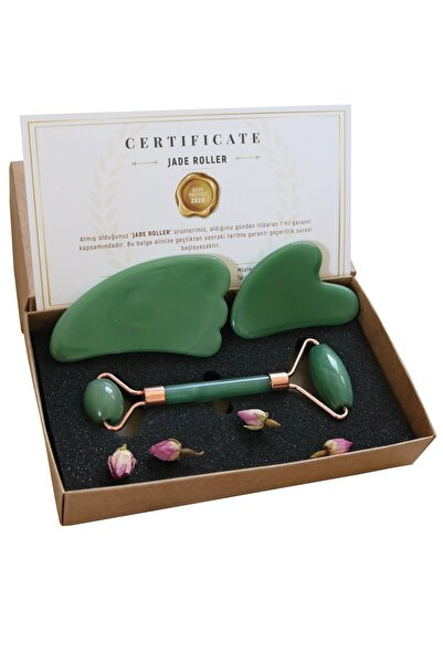 Seay Aventurin Jade Roller Kalp Ve Melek Guasha Ikili Yüz Masaj Taşı Takımı Premium