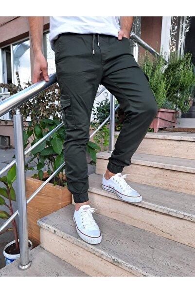 Tarz Cool Erkek Haki Slim Fit Paça Lastikli Likralı Jogger Pantolon
