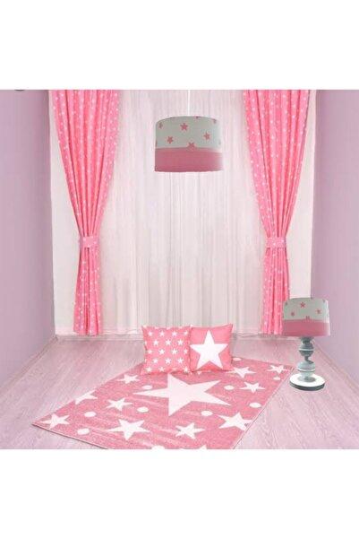 Atölye Lamp Design Pembe Yıldızlı Çocuk Odası + Abajur+ Fon Perde Takımı
