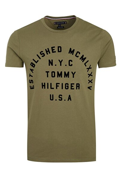Tommy Hilfiger Erkek Haki Established Tshirt