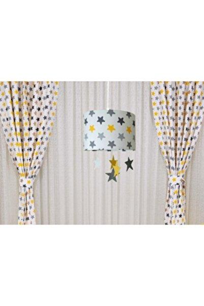 Atölye Lamp Design Çocuk Odası Bebek Odası Gri Sarı Yıldızlı Tekli Avize +fon Perde Takımı