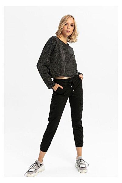 TIFFANY&TOMATO Kadın Siyah Kargo Çep Paça Lastikli Pantolon