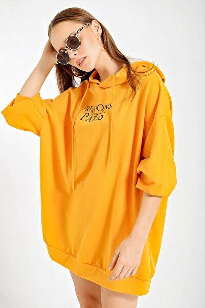 Bigdart Kadın Safran 4125 Grafik Desenli Oversize Sweat Elbise 4125Bgd19