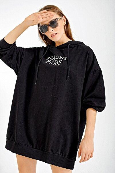 Bigdart Kadın Düz Siyah 4125 Grafik Desenli Oversize Sweat Elbise 4125Bgd19