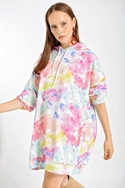 Bigdart Kadın Pudra 4125 Grafik Desenli Oversize Sweat Elbise 4125Bgd19