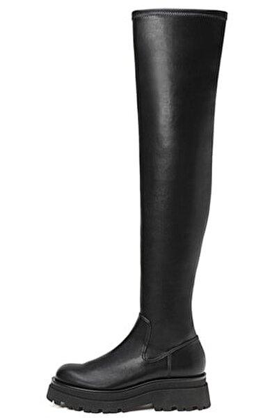 Kadın Siyah Düz, Tırtıklı Tabanlı, Uzun Çizme 19851670