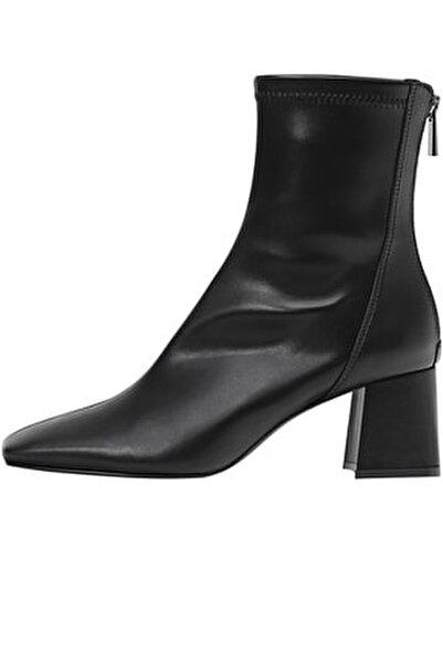 Kadın Siyah Streç Bilekli Orta Boy Topuklu Bot 19902670