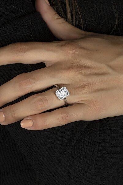 Else Silver Baget Taşlı Özel Tasarım Tek Taş Gümüş Bayan Yüzüğü