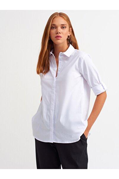 Dilvin Kadın Ekru Düğme Detay Gömlek