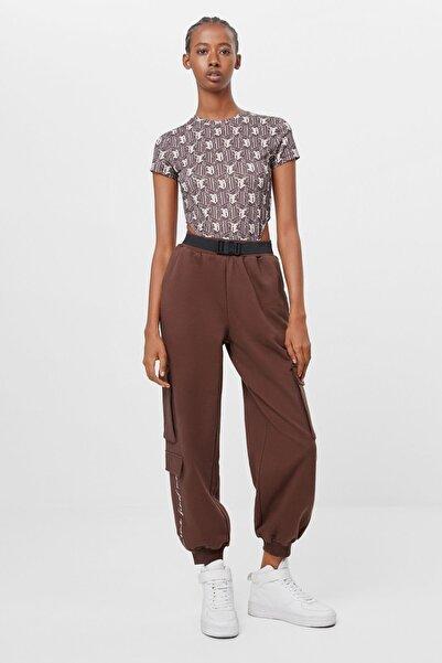 Bershka Kadın Kahverengi Kargo Jogger Pantolon