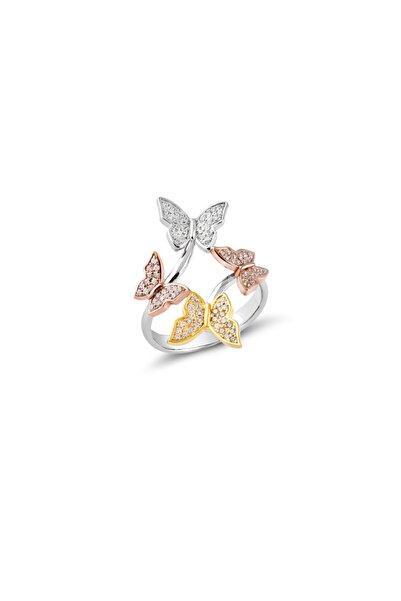 Glint Point Zirkon Taşlı Kelebek Model Kadın Gümüş Yüzük