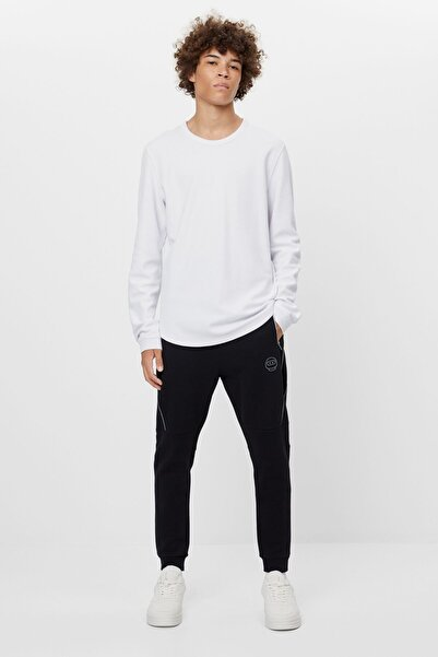 Bershka Erkek Siyah Reflektör Jogging Fit Pantolon