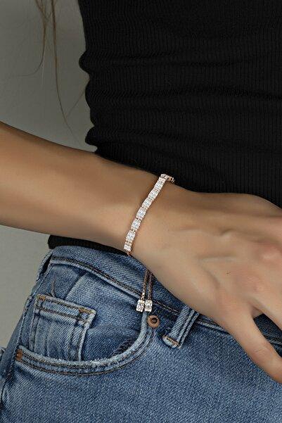 Else Silver Baget Taşlı Pırlanta Modeli Gümüş Asansörlü Bayan Bilekliği