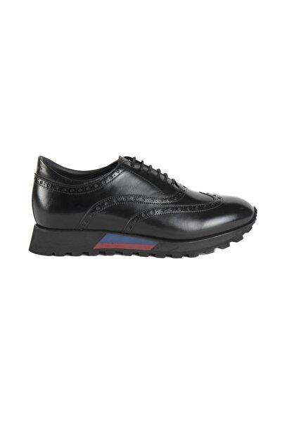ALBERTO GUARDIANI Erkek Siyah Hakiki Deri Sneaker Bağcıklı Ayakkabı