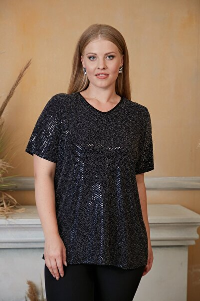 RMG Kadın Siyah Pul Payet T-shirt