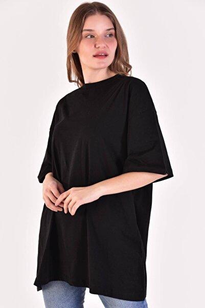 Da Vinci Kadın Siyah Oversize T-shirt
