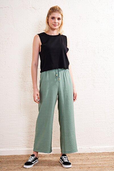 Eka Kadın Yeşil Lastikli Kemerli Pantolon