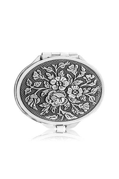 Gumush Gümüş Gül Motifli Kapaklı Oval El Aynası