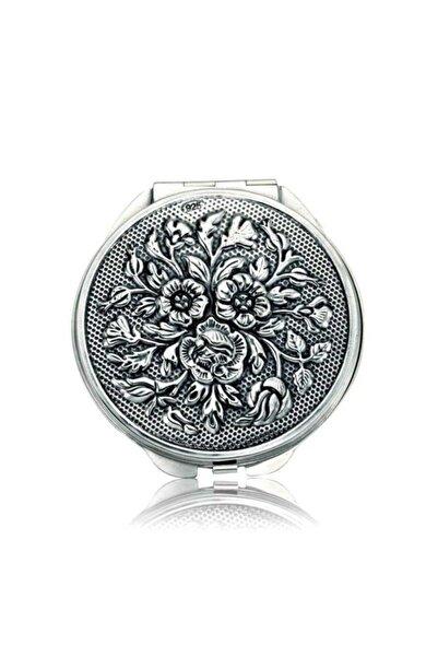 Gumush Gümüş Gül Motifli Kapaklı Yuvarlak El Aynası