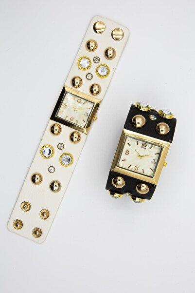 Spectrum Kadın Altın Rengi Özel Tasarım Saat Seti 2'li W154464