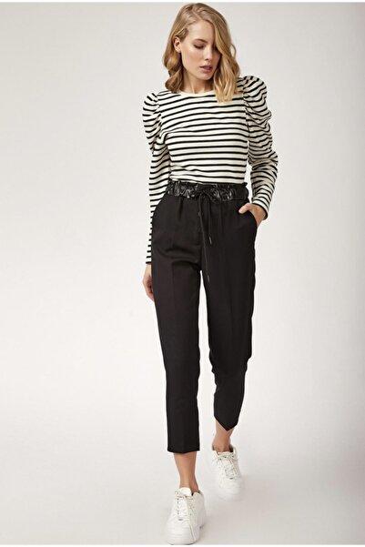 Mia Kadın Siyah Beli Büzgülü Düğmeli Pantolon