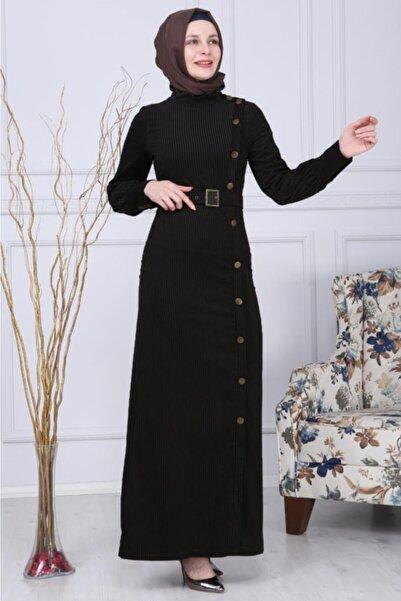 Modamihram Kadın Siyah Düğmeli Kadife Tesettür Elbise