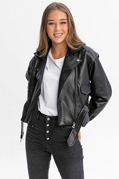LUND Kadın Siyah Balon Kollu Suni Deri Ceket