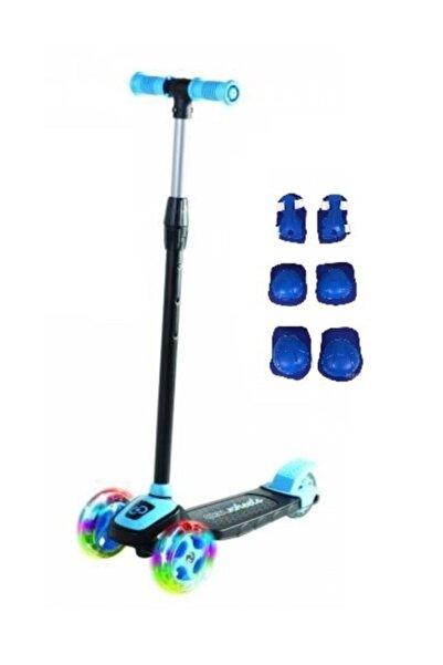 Furkan 3 Tekerlekli Frenli Led Işıklı Yükseklik Ayarlı Çocuk Twist Scooter Mavi Renk 3+ Yaş Dizlik Seti Hed