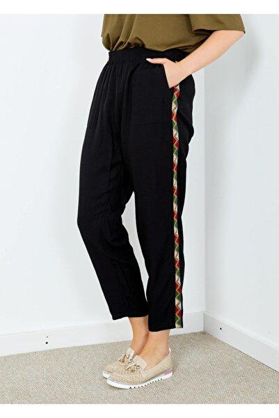 Adze Kadın Siyah Yan Işlemeli Cepli Bol Paça Pantolon