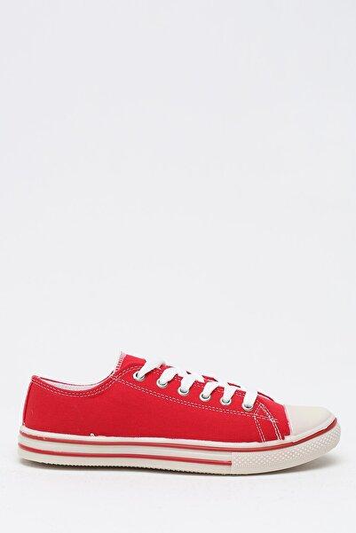 Violetta Shoes Kadın Kırmızı Keten Kısa Convers